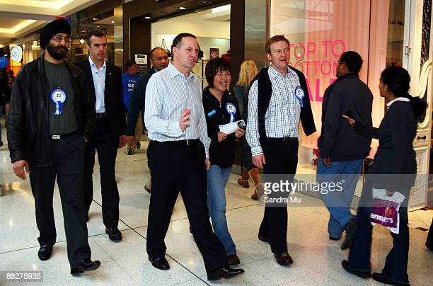 New Zealand Prime Minister John Key National MP Melissa Lee and Jonathan Coleman campaign at the St Luke shopping centre on June 7 2009 in Auckland...