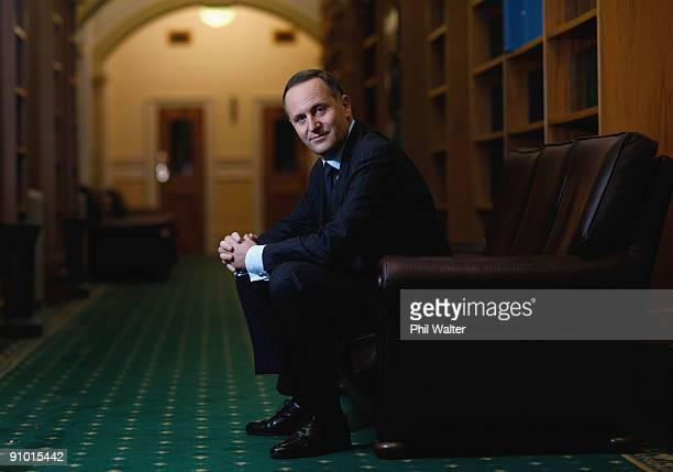 New Zealand Prime Minister John Key poses inside Parliament on September 19 2009 in Wellington New Zealand John Key nears his first year as the...
