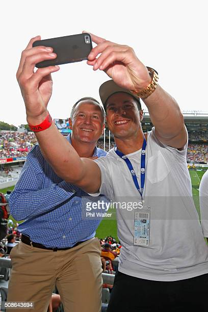 New Zealand Prime Minister John Key poses with boxer Joseph Parker during the 2016 NRL Auckland Nines at Eden Park on February 6, 2016 in Auckland,...