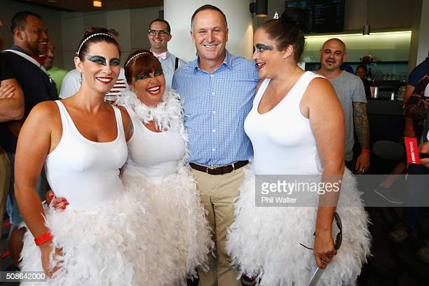 New Zealand Prime Minister John Key poses with fans during the 2016 NRL Auckland Nines at Eden Park on February 6, 2016 in Auckland, New Zealand.