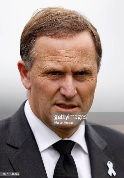 New Zealand Prime Minister John Key speaks at a press conference during a visit to Greymouth to meet with families of the lost miners on November 25...