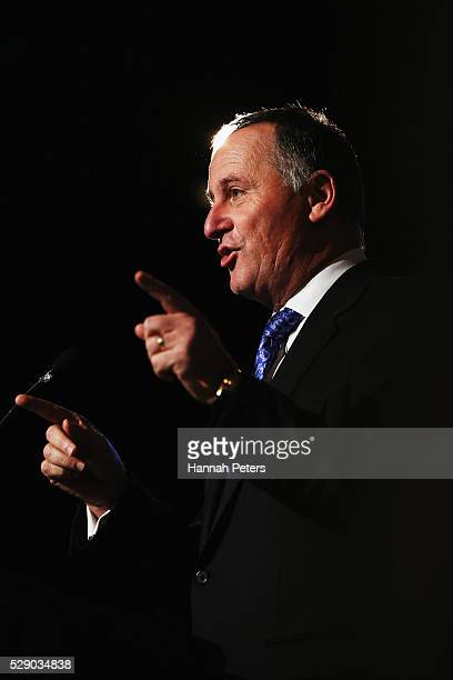 New Zealand Prime Minister John Key speaks at the New Zealand National Party's 2016 Northern Convention on May 8 2016 in Auckland New Zealand