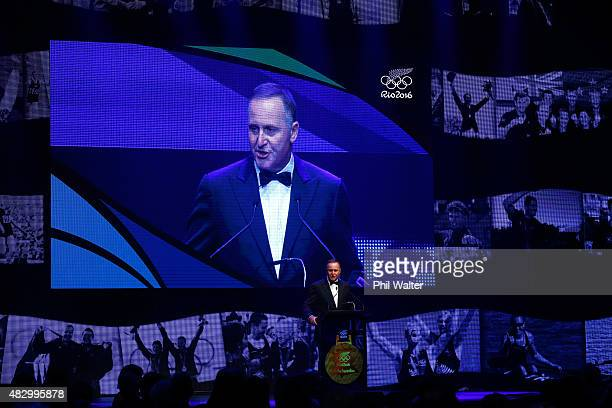 New Zealand Prime Minister John Key speaks at the NZOC Gala Dinner at the Viaduct Events Centre celebrating one year to go untill the 2016 Summer...