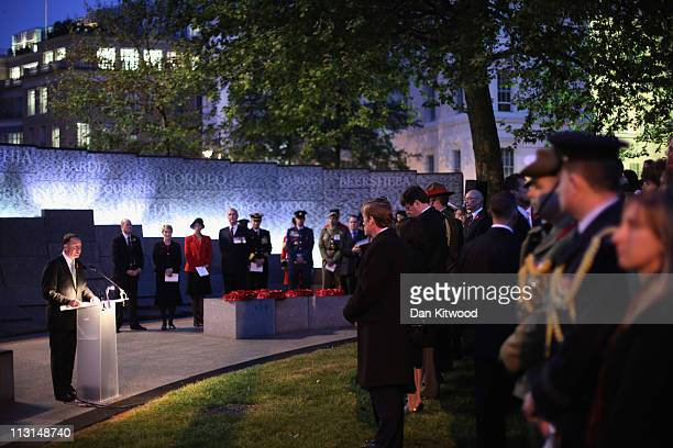 New Zealand Prime Minister John Key speaks during a memorial service at the Australian War Memorial in Hyde Park on April 25 2011 in London England...
