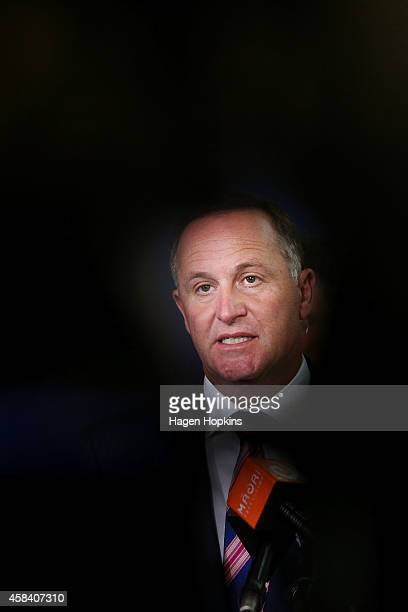 New Zealand Prime Minister John Key speaks to media after delivering a national security speech at Victoria University on November 5 2014 in...