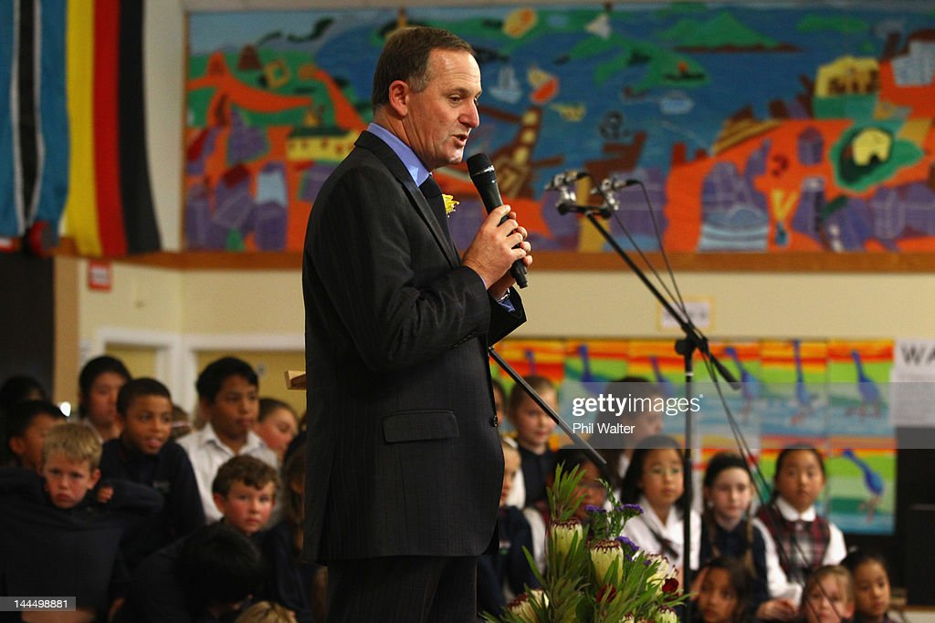 New Zealand Prime Minister John Key speaks to schoolchildren as he opens a new classroom block at the Westminister Christian School on May 15, 2012 in Auckland, New Zealand. The Prime Minister is conducting events in Auckland today before heading to Gisborne for appearances tomorrow.