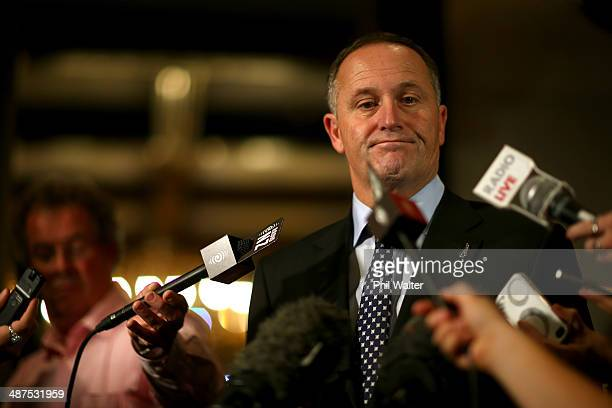 New Zealand Prime Minister John Key speaks to the media at a press conference following the resignation of Maurice Williamson as a Minister at the...