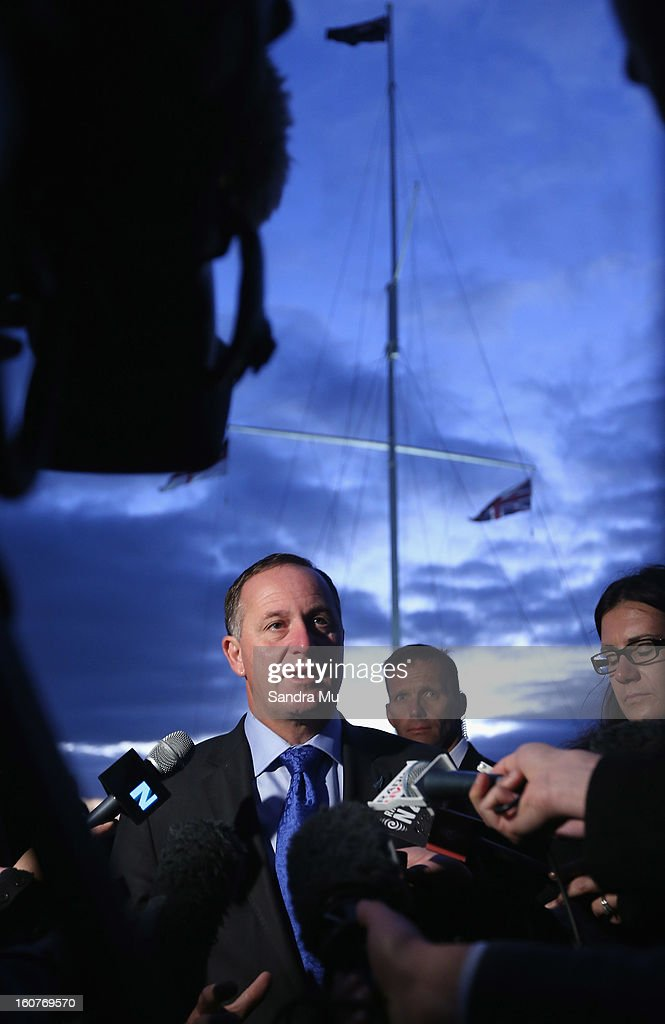 New Zealand Prime Minister John Key talks to media after the dawn service at the Treaty Grounds on February 6, 2013 in Waitangi, New Zealand. The Waitangi Day national holiday celebrates the signing of the treaty of Waitangi on February 6, 1840 by Maori chiefs and the British Crown, that granted the Maori people the rights of British Citizens and ownership of their lands and other properties.