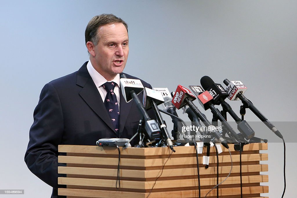 New Zealand Prime Minister John Key talks to the media at a press conference at The Beehive, New Zealand Parliament Buildings on November 5, 2012 in Wellington, New Zealand. The findings of the royal commission into New Zealand's Pike River mine disaster have been made public today. It has been almost two years since the explosions at the coal mine on the South Island, killing 29 people.
