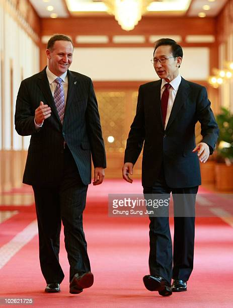 New Zealand Prime Minister John Key talks with South Korean President Lee MyungBak before their summit at the presidential house on July 5 2010 in...