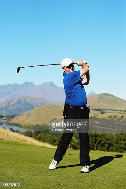 New Zealand Prime Minister John Key tees off during day four of the New Zealand Open at The Hills Golf Club on March 15 2015 in Queenstown New Zealand