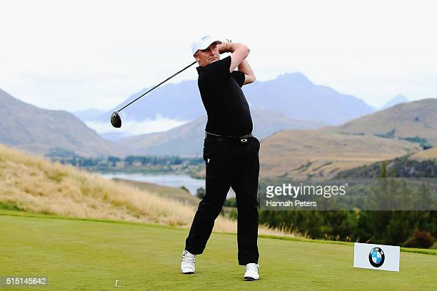 New Zealand Prime Minister John Key tees off during day four of the 2016 New Zealand Open at The Hills on March 13 2016 in Queenstown New Zealand