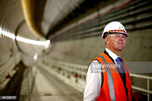New Zealand Prime Minister John Key views the Waterview Tunnel connection to State Highway 16 on May 16 2014 in Auckland New Zealand The National...