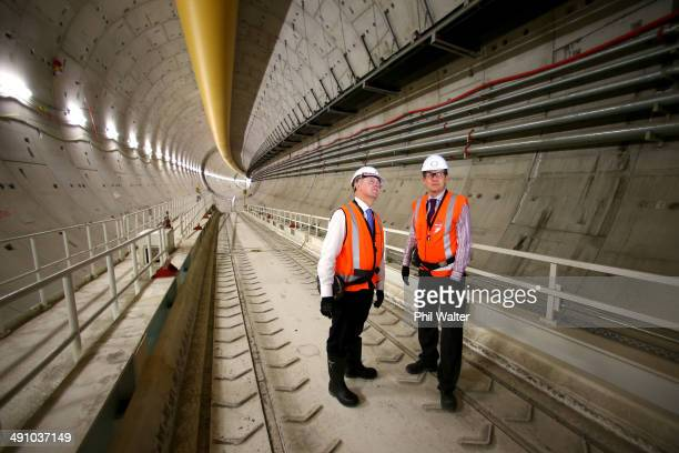 New Zealand Prime Minister John Key views the Waterview Tunnel connection to State Highway 16 with Tommy Parker Group Manager at Highway Network...