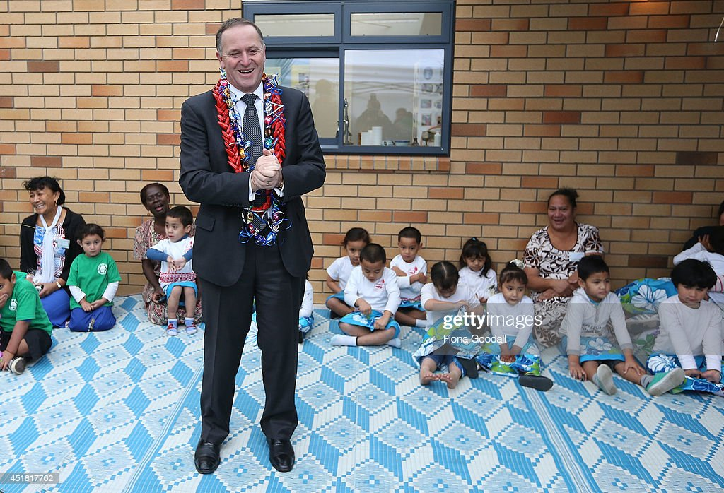 New Zealand Prime Minister John Key Visits Le Malelega a le To'elau Early Childhood Education Centre on July 8, 2014 in Auckland, New Zealand. The Prime Minister watched the children perform and spoke to parents and educators during his visit to the Mangere pre school.