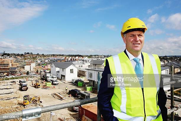 New Zealand Prime Minister John Key visits the Hobsonville Housing Development on August 25 2014 in Auckland New Zealand Prime Minister Key is in...