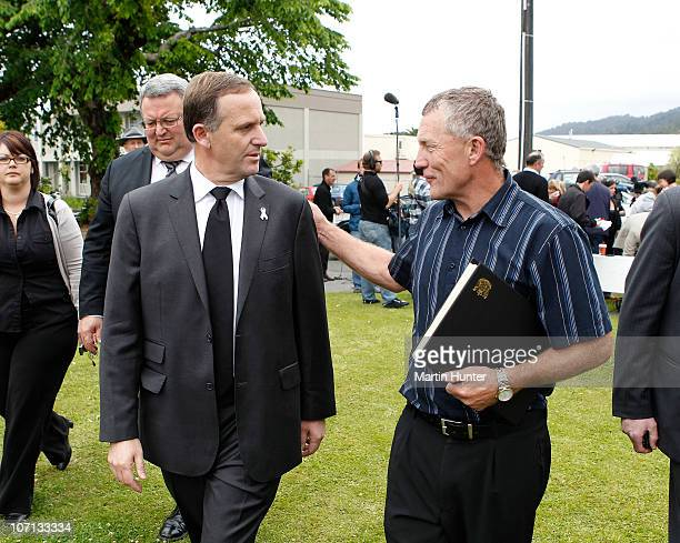 New Zealand Prime Minister John Key with Greymouth Mayor Tony Kokshoorn after a visit to Greymouth to meet with families of the lost miners on...