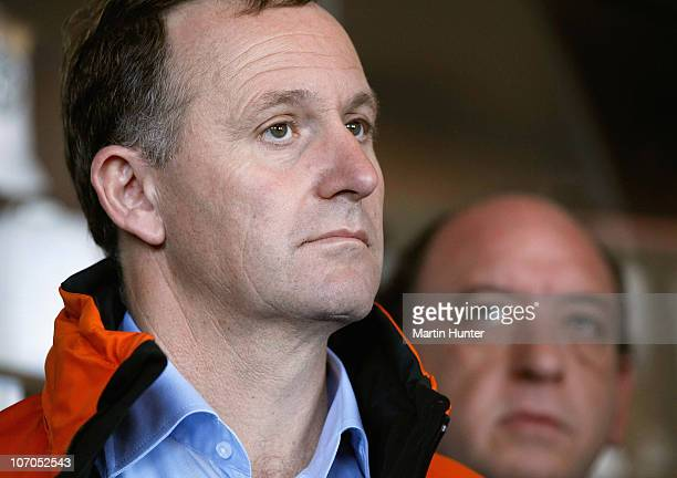 New Zealand Prime Minister John Key with Pike River Coal Mine CEO Peter Whittall speak to the media during a press conference on November 22 2010 in...
