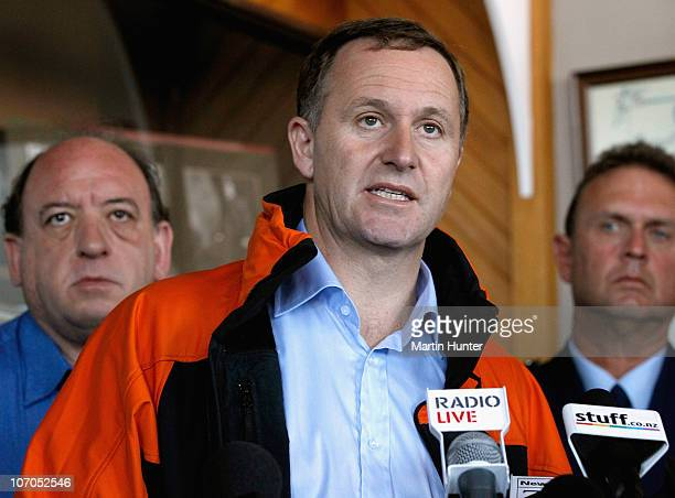 New Zealand Prime Minister John Key with Pike River Coal Mine CEO Peter Whittall and Superintendent Gary Knowles speak to the media during a press...