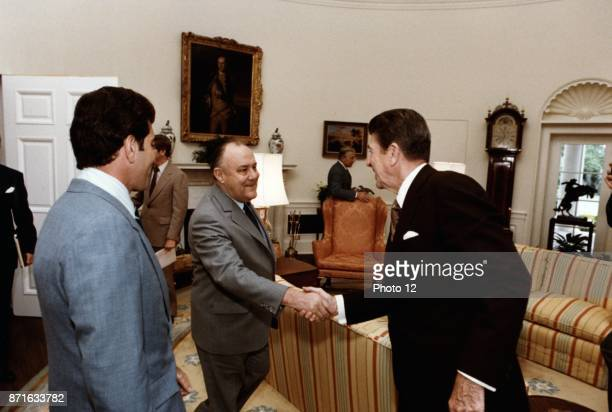 New Zealand Prime Minister Robert Muldoon and US President Ronald Reagan in the Oval Office Washington DC 24 July 1981