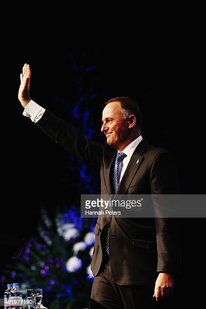 New Zealand Prime Minster John Key thanks the crowd after speaking at the Annual National Party Conference at Sky City on July 26 2015 in Auckland...