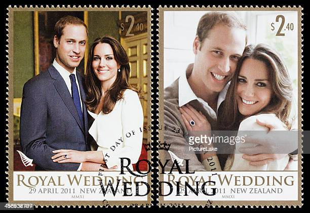 new zealand prince william and kate royal wedding postage stamps - catherine duchess of cambridge photos stock pictures, royalty-free photos & images