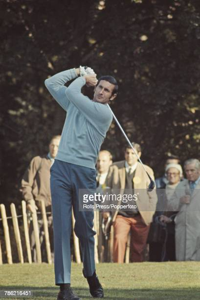 New Zealand professional golfer Bob Charles pictured in action on the 4th tee during competition to reach the quarterfinals of the 1970 Piccadilly...