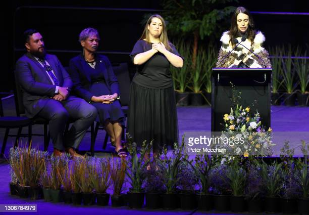New Zealand Prume Minister Jacinda Ardern speaks at the National Remembrance Service For Christchurch Mosques Attack on March 13, 2021 in...