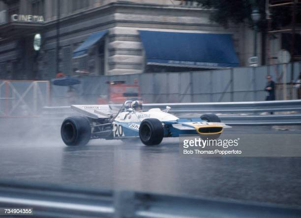 New Zealand racing driver Chris Amon drives the Equipe Matra Sports Matra MS120B Matra MS71 30 V12 in qualifying on the Saturday prior to competing...