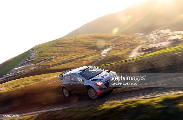 New Zealand rally driver Hayden Paddon and his codriver John Kennard of Hyundai Motorsport compete in the second Hafren Sweet Lamb special stage of...