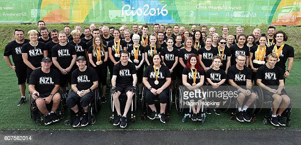 New Zealand Rio 2016 Paralympians and support staff pose for a team photo on day 11 of the Rio 2016 Paralympic Games at Paralympic Village on...
