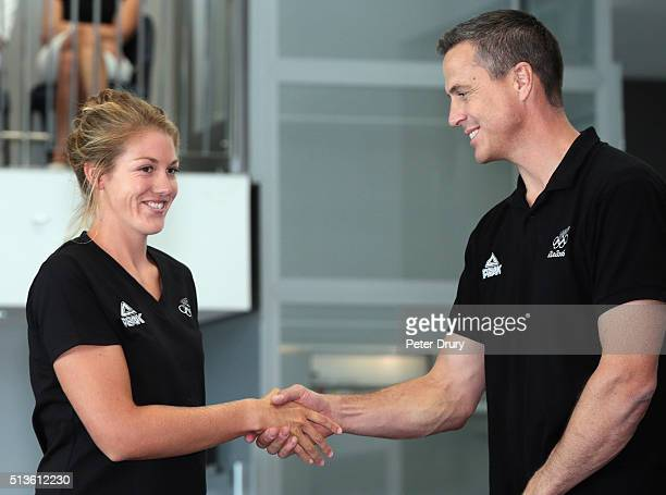 New Zealand rower Kerri Gowler is congratulated by NZOC Chef de Mission Rob Waddell during the New Zealand Olympic Rowing Team Announcement at Lake...