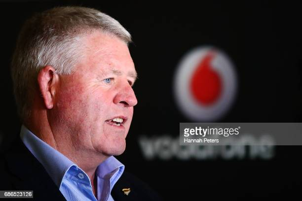 New Zealand Rugby CEO Steve Tew speaks during a New Zealand All Blacks sponsorship Announcement at Eden Park on May 22 2017 in Auckland New Zealand...