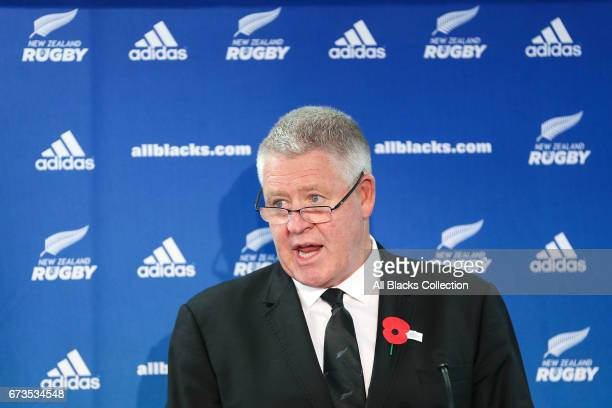 New Zealand Rugby CEO Steve Tew speaks during the New Zealand Rugby Union Annual General Meeting at New Zealand Rugby House on April 27 2017 in...