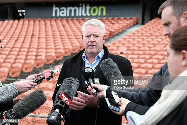 New Zealand Rugby CEO Steve Tew speaks to media during the New Zealand All Blacks Captain's Run at Waikato Stadium on September 9 2016 in Hamilton...