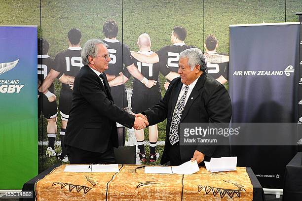 New Zealand Rugby Chairman Brent Impey and Samoa Rugby Union Chairman His Excellency Tuilaepa Sailele Malielegaoi shake hands after signing a tour...
