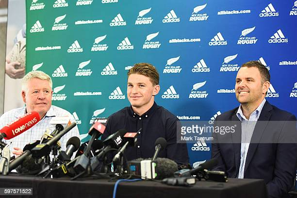 New Zealand Rugby Chief Executive Steve Tew Beauden Barrett and Hurricanes Chief Executive Avan Lee speak to the media after Barrett resigned with...