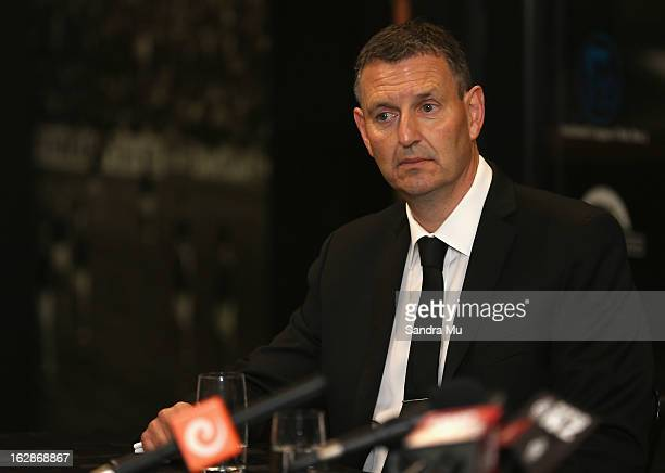 New Zealand Rugby League CEO Phil Holden looks on during the New Zealand Rugby League Captain Announcement at NZRL Headquarters on March 1 2013 in...