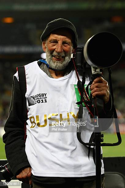 New Zealand rugby photographer Peter Bush poses for a portrait before the 2011 IRB Rugby World Cup Final match between France and New Zealand at Eden...