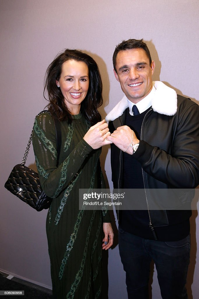 New Zealand Rugby Player and Champion of the World with 'All Blacks', Dan Carter and his wife Honor Carter, dressed in Louis vuitton, pose Backstage after the Louis Vuitton Menswear Fall/Winter 2016-2017 Fashion Show as part of Paris Fashion Week. Held at 'Parc Andre Citroen' on January 21, 2016 in Paris, France.
