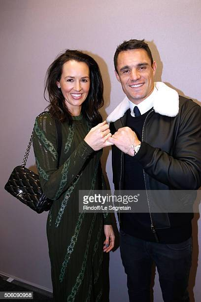New Zealand Rugby Player and Champion of the World with All Blacks Dan Carter and his wife Honor Carter dressed in Louis vuitton pose Backstage after...