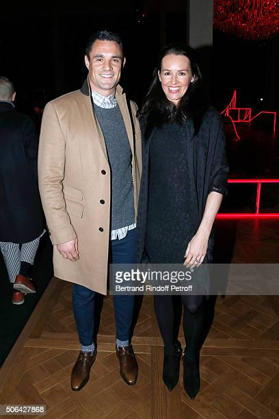 New Zealand Rugby Player and Champion of the World with 'All Blacks' Dan Carter and his wife Honor Carter attend the Dior Homme Menswear Fall/Winter...