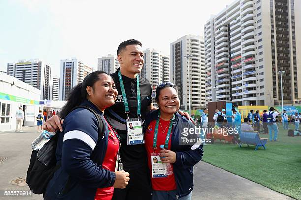 New Zealand Rugby player Sonny Bill Williams meets fans at the Olympic Village on August 3 2016 in Rio de Janeiro Brazil