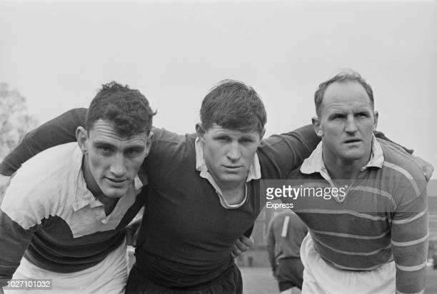 New Zealand rugby players from left Ken Gray John Major and Wilson Whineray of the All Blacks national rugby union team pictured together on a rugby...