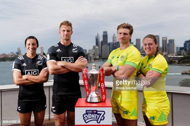 New Zealand Rugby Seven's captains Sarah Goss and Scott Curry with Australian's Lewis Holland and Sharni Williams during the 2018 Sydney Sevens...