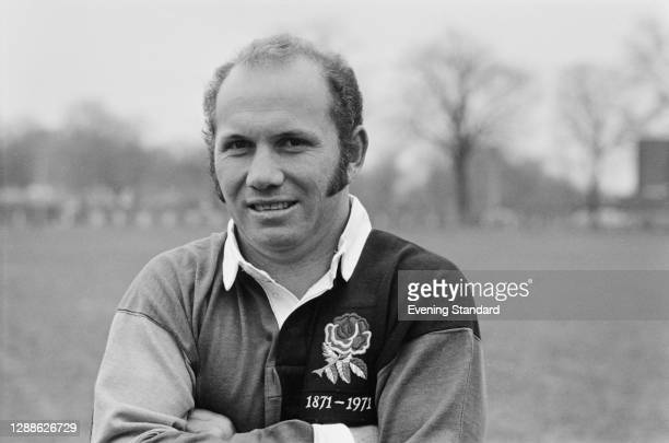 New Zealand rugby union player Sid Going in the UK to celebrate the Centenary of the Rugby Football Union, 7th April 1971. He is wearing the red rose...