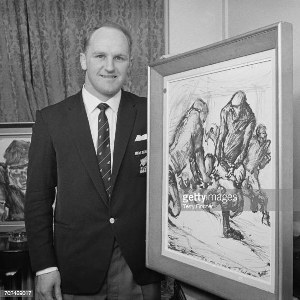 New Zealand rugby union player Wilson Whineray , captain of the All Blacks, with a rugby-themed artwork at the Park Lane Hotel in London, UK, 17th...