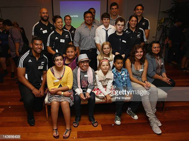 New Zealand Rugby Union representatives posewith Cure Kids Ambassadors during the New Zealand Rugby Union Cure Kids announcement at the Pullman Hotel...