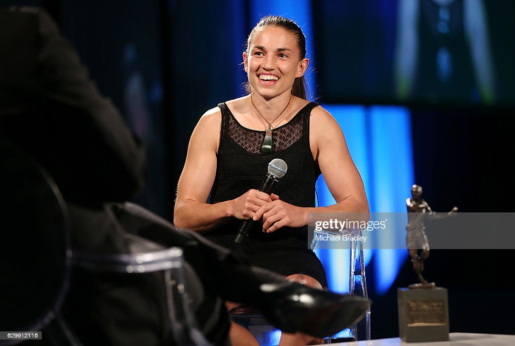 New Zealand Rugby Women's Player of the Year Selica Winiata speaks at the ASB New Zealand Rugby Awards at SkyCity Convention Centre on December 15, 2016 in Auckland, New Zealand.