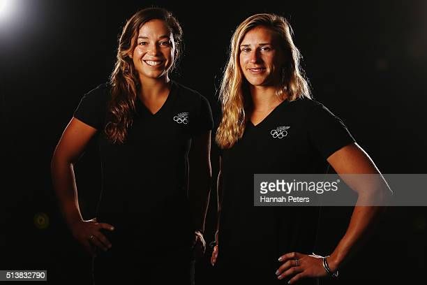 New Zealand sailing athletes Alexandra Maloney and Molly Meech pose during the New Zealand Olympic teams Rio 2016 Olympic Games portrait session on...